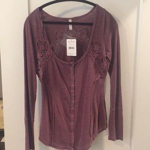 burgundy free people long sleeve- tags attached